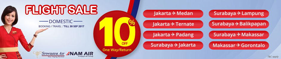 Flight Sale Domestic with Sriwijaya Air and NAM Air