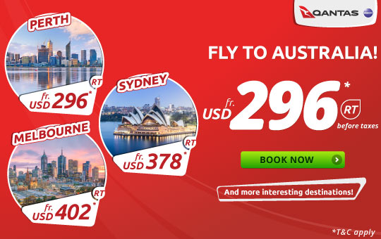 Qantas Fly To Australia! start from USD 296* RT