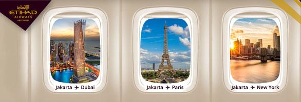 Jakarta to Dubai, Paris, New York with Etihad Airways
