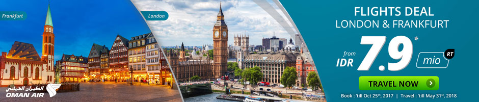 Flight Deals to London and Frankfurt from IDR 7.9 mio