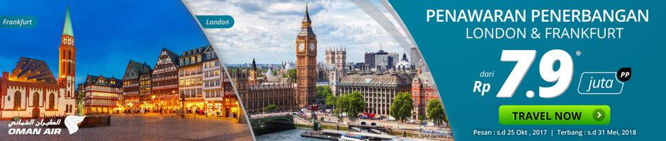 Promo Penerbangan ke London dan Frankfurt mulai Rp7.9 juta