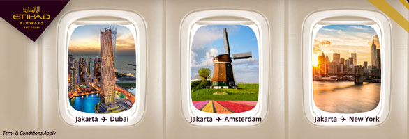 Jakarta to Dubai, Amsterdam, New York with Etihad Airways