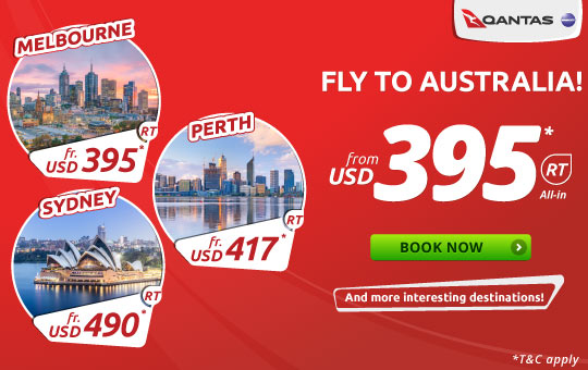 Qantas Fly To Australia! start from USD 395* RT