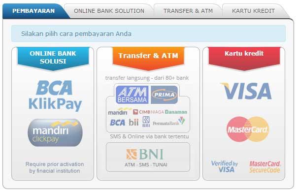 pilihan pembayaran : online banking, ATM, SMS, Kartu kredit