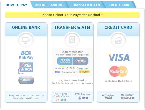 payment options : online banking, ATM, SMS, Credit card