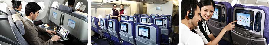 Interior & stewardess Air China Flight